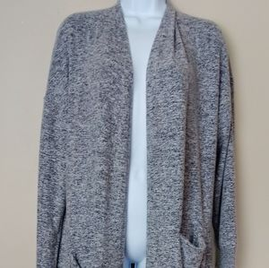 Lucky Brand Long Grey Open Front Cardigan Sweater